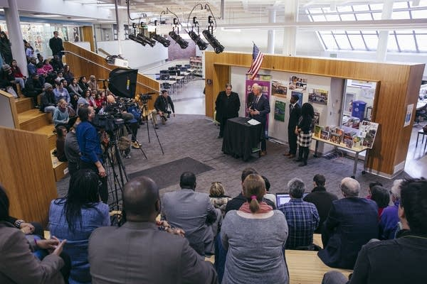 A press conference inside of Galtier Elementary School
