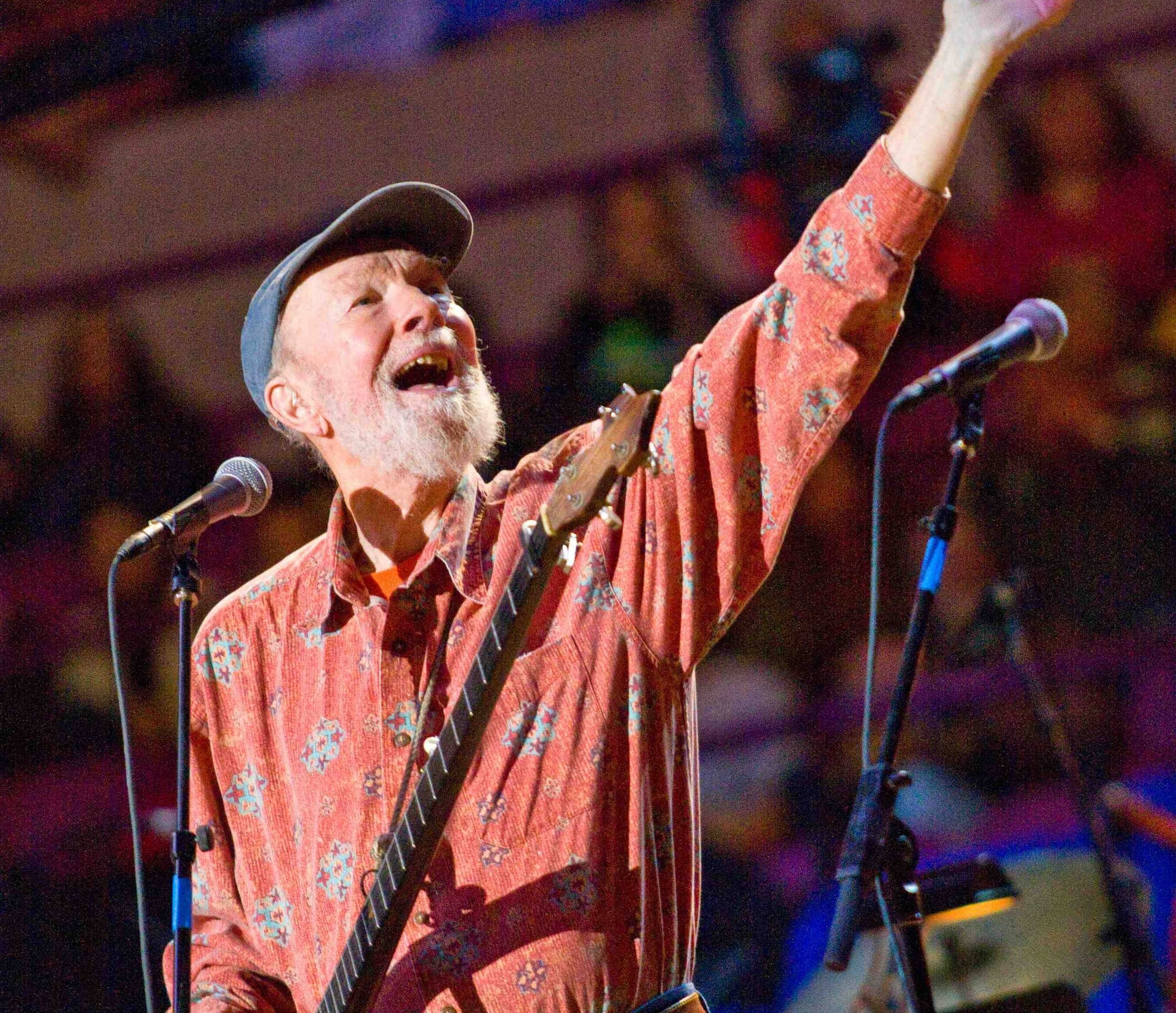 Pete Seeger performing at his 90th birthday party