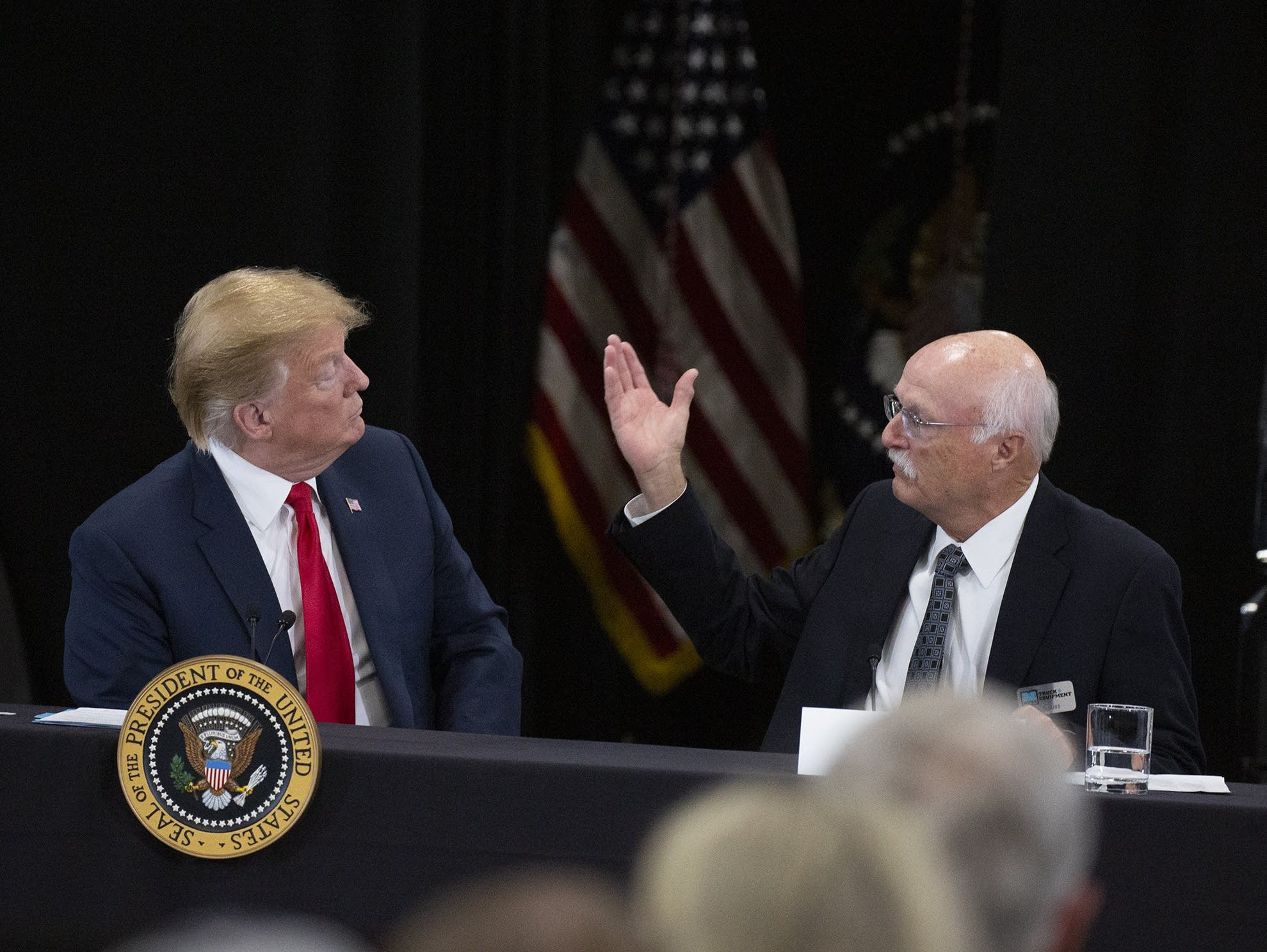 President Trump and Nuss Trucking President and CEO Bob Nuss.