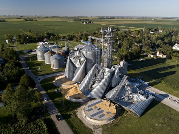 Storm-damaged grain bins