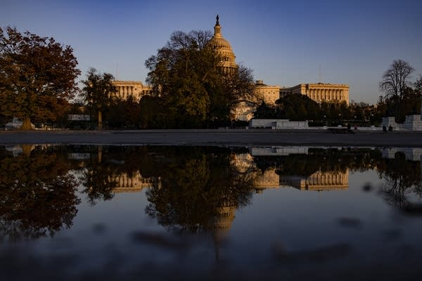 The U.S. Capitol reflected in a pool.