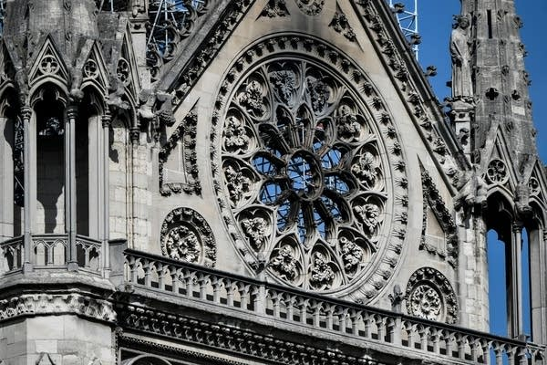 A detail of the south transept of the Notre Dame Cathedral.