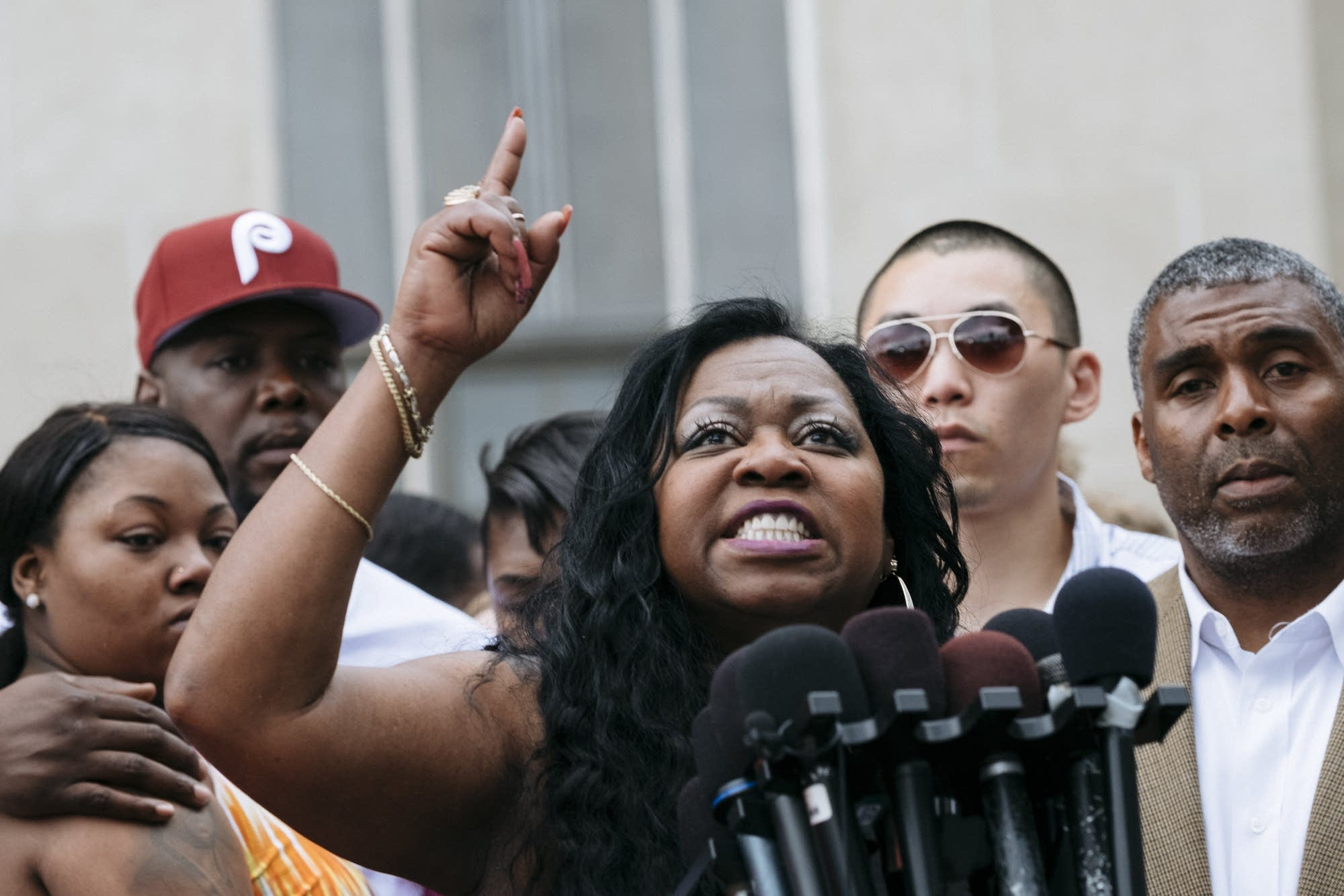 Valerie Castile speaks to the press after the trial verdict.