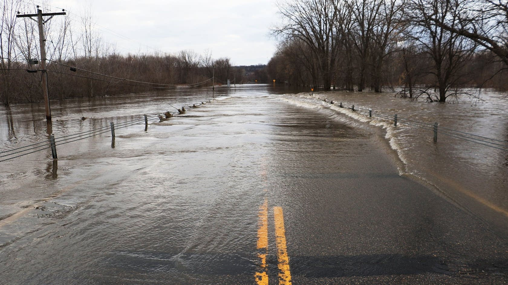 State Highway 19 is covered by the floodwaters of the Minnesota River