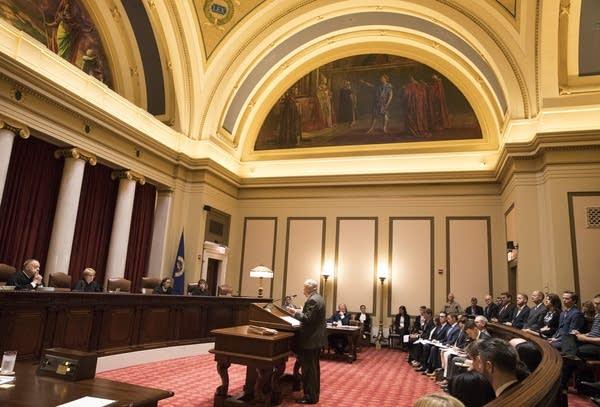 Sam Hanson, the attorney representing Gov. Dayton, delivers oral arguments.