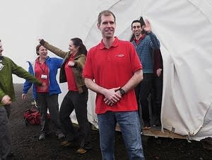 Six scientists exit from their Mars simulation