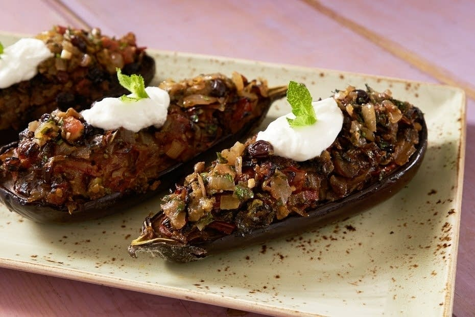 Eggplants Stuffed with Onions, Raisins, and Grape Molasses