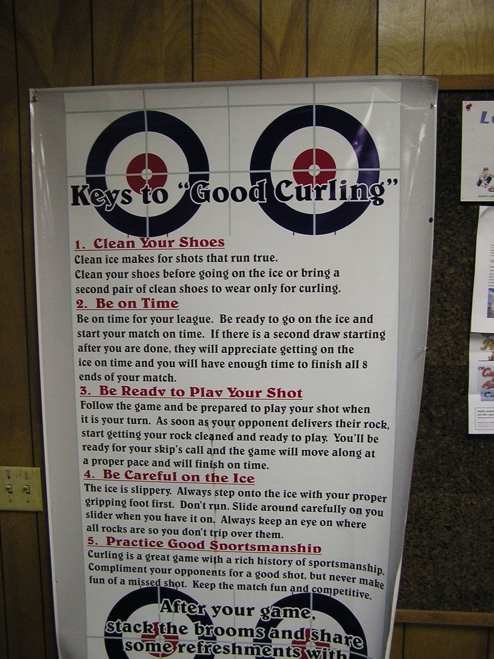 This poster reminds curlers to be good sports