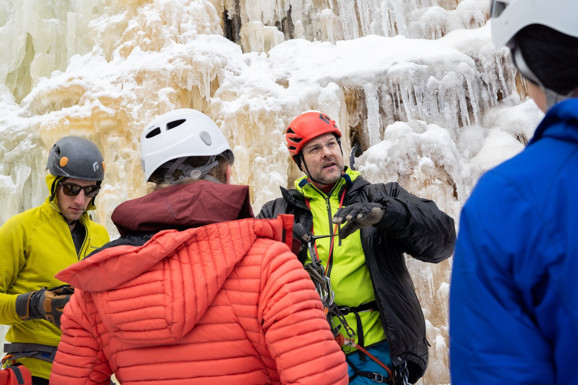 Loveridge gives a lesson on ice climbing.