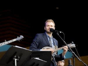Chris Thile takes in the crowd at the Telluride Bluegrass Festival.