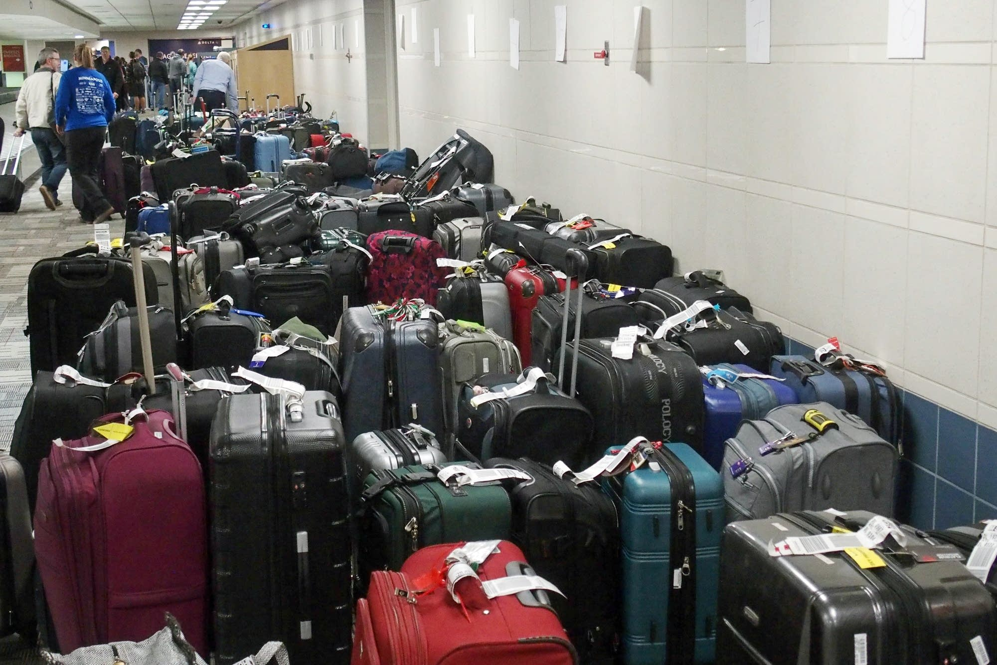 Baggage staff at MSP are dealing with hundreds of pieces of luggage.