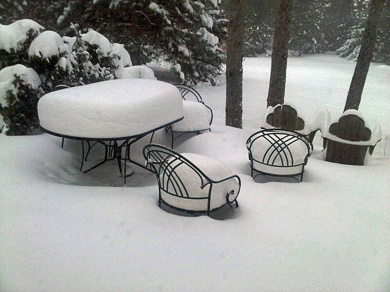Snow-covered patio