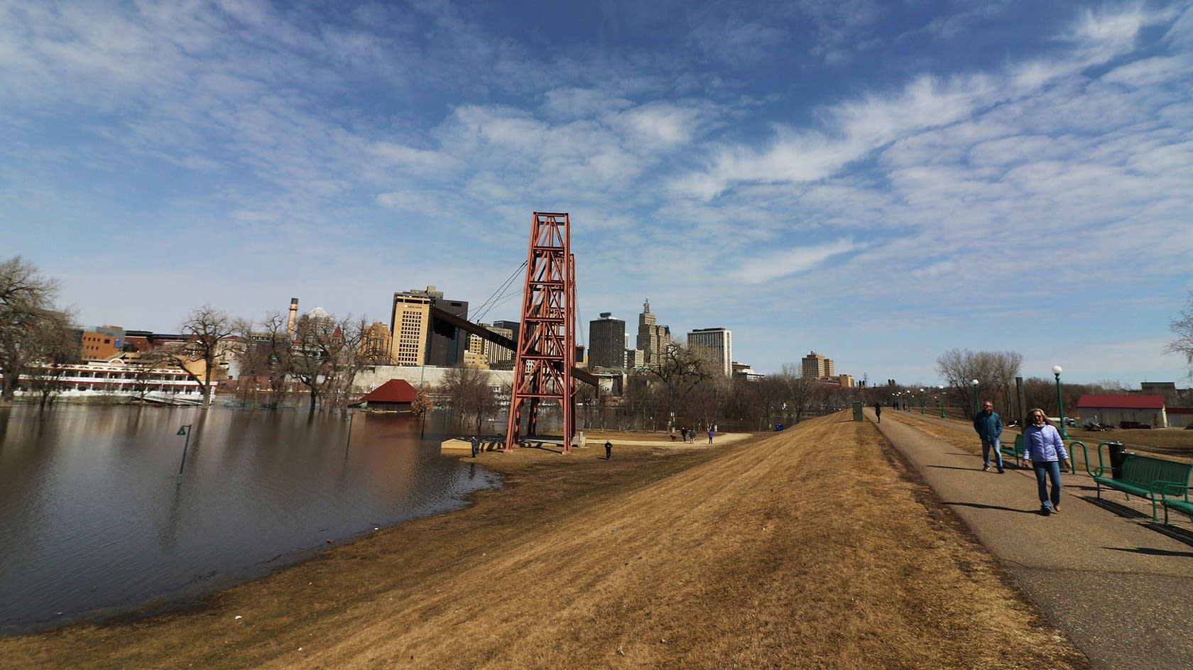 Mississippi River floodwaters fill Harriet Island Regional Park