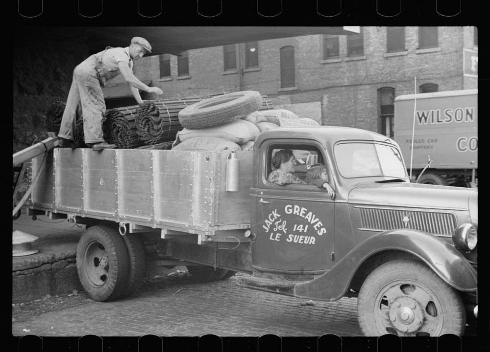Man loads truck