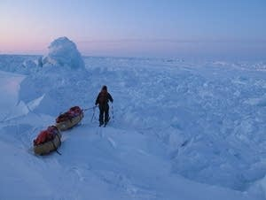 Explorers trek to the North Pole.