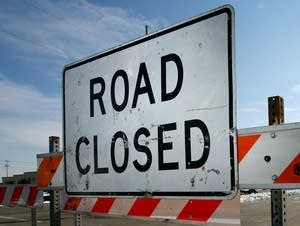 A road-closed sign along a Minnesota highway.