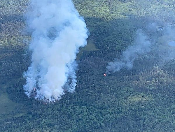 An aerial view of a wildfire