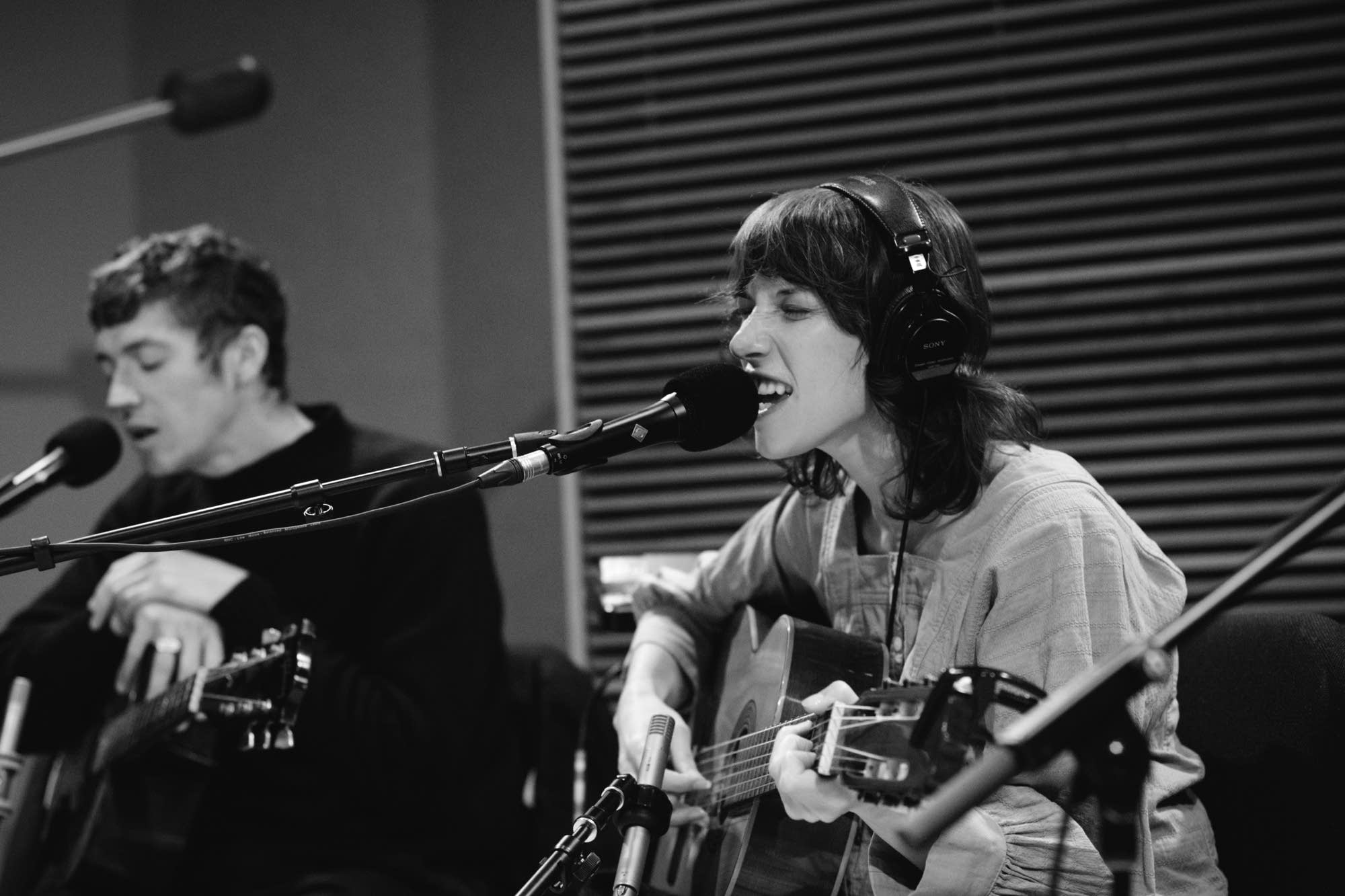 Aldous Harding performing in The Current studio