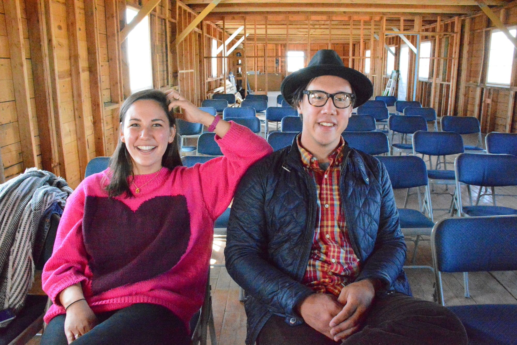 Erin Oyama and Julian Saporiti in the barrack at Heart Mountain, Wyoming.