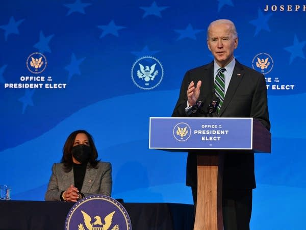 President-elect Joe Biden, joined by Vice President-elect Kamala Harris