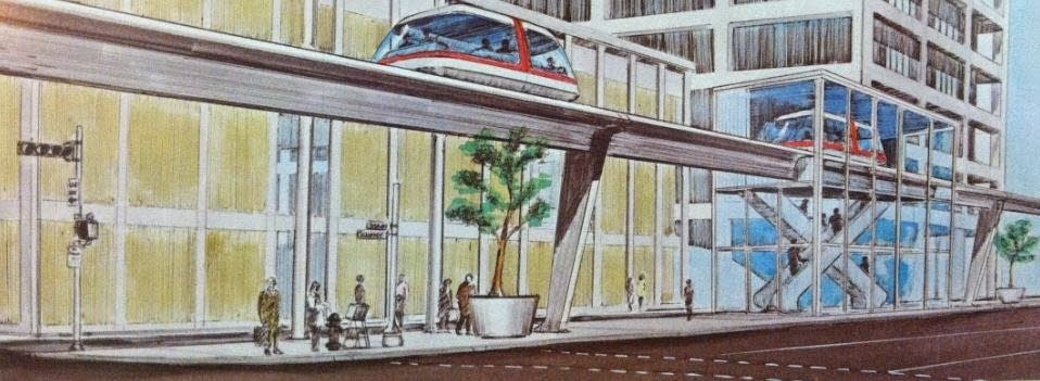 An image of a people mover proposed for, and never built in, Houston.