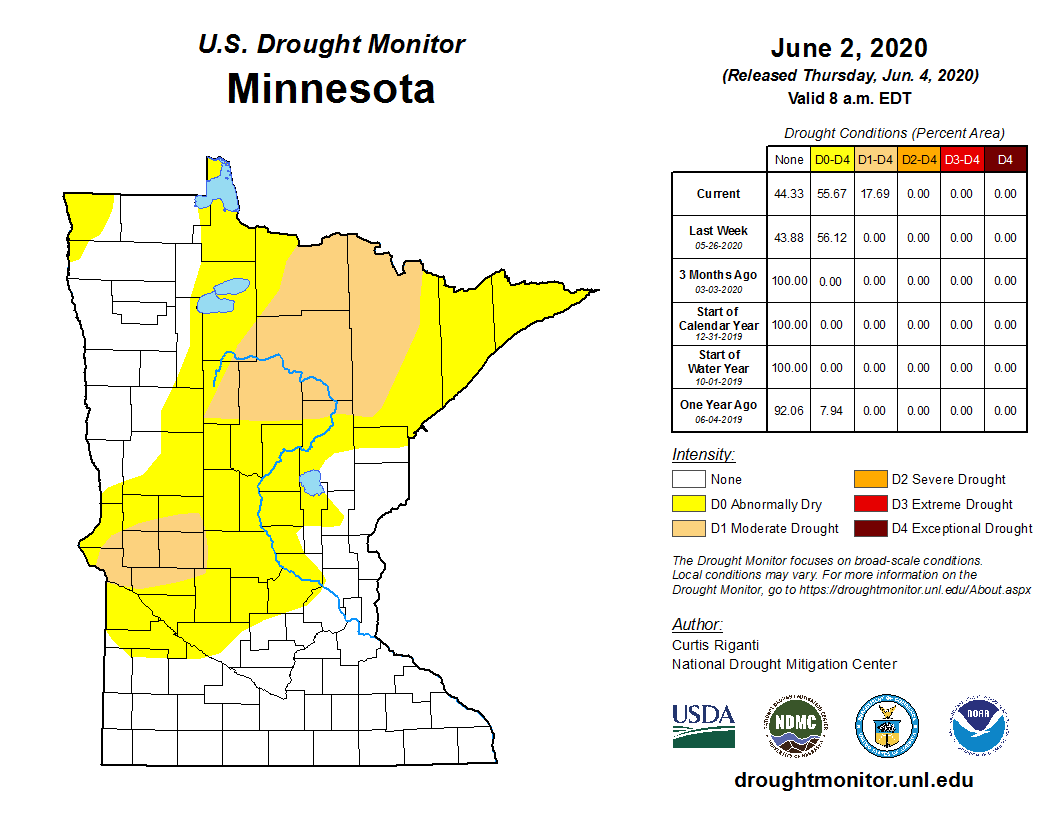 U.S. Drought Monitor for Minnesota