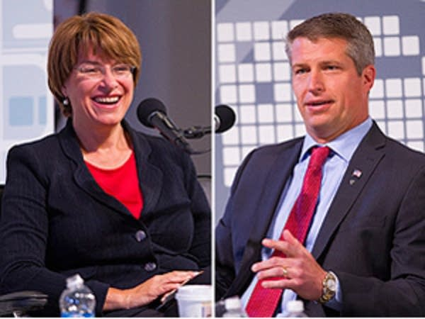 Klobuchar, left, and Bills debate in Duluth