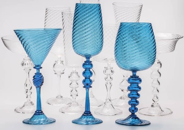 Clear and blue-tinted goblets made by Derek Hostetler.
