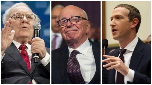 A collage with Warren Buffett, Rupert Murdoch and Mark Zuckerberg