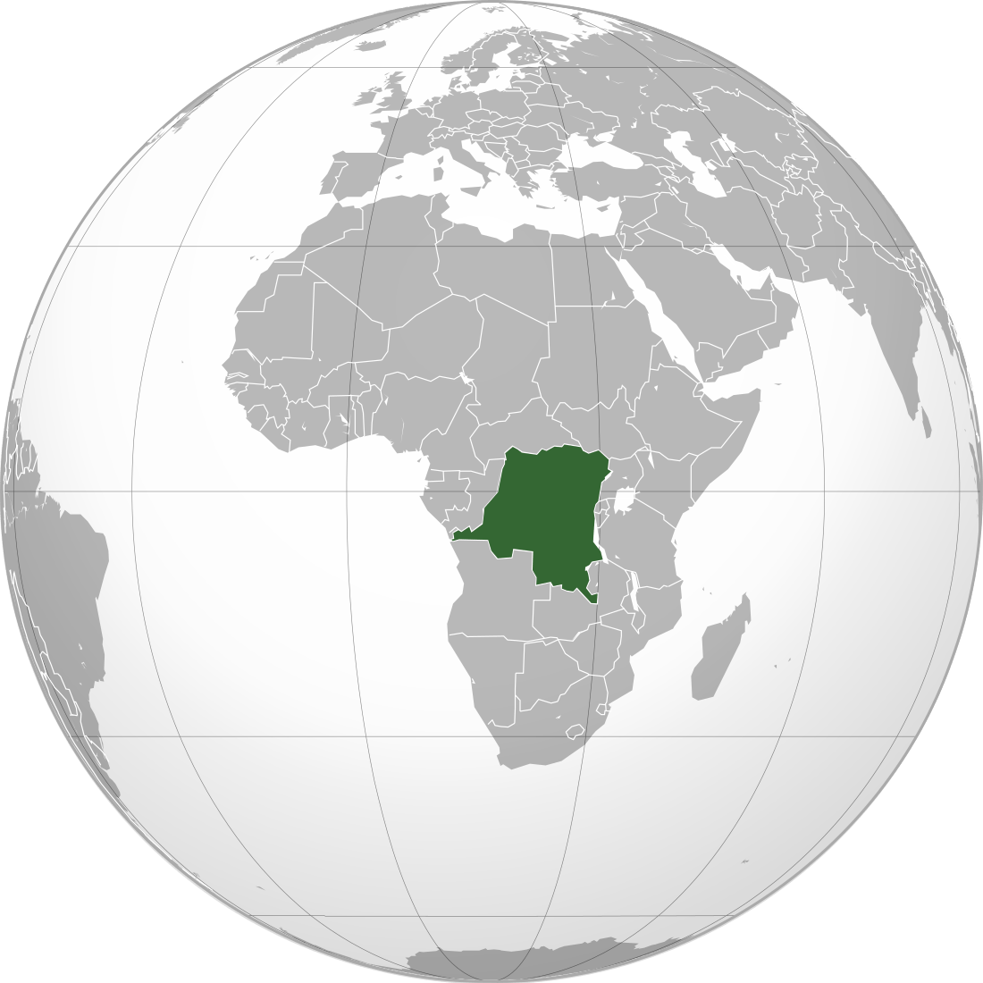 Map of world with Congo highlighted
