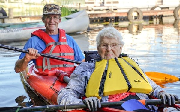Pat Marble, who's turning 107 in August, kayaks with her grandson, Craig.