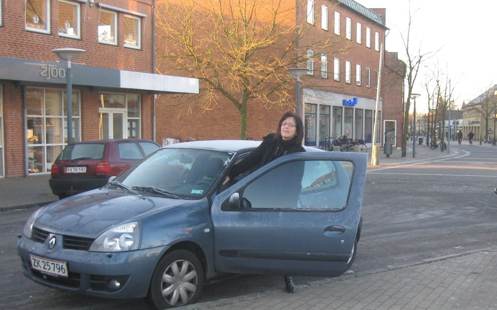 Michelle Cumming Lokkegaard in her car in Denmark.