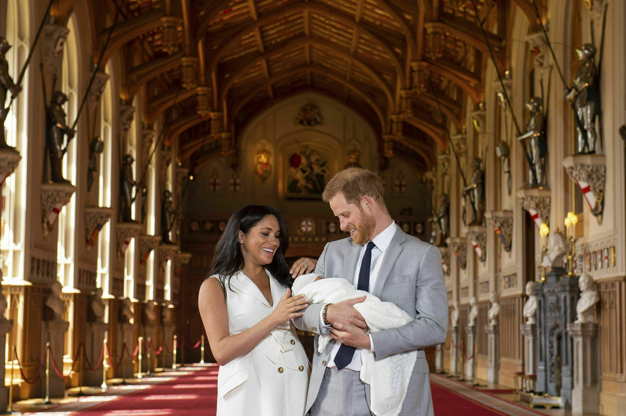Prince Harry and Meghan, Duchess of Sussex, with Baby Sussex.
