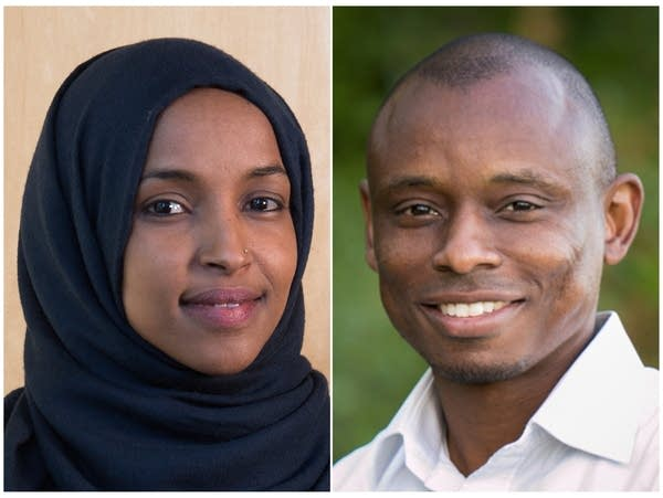 A photo collage of Ilhan Omar and Antone Melton-Meaux.