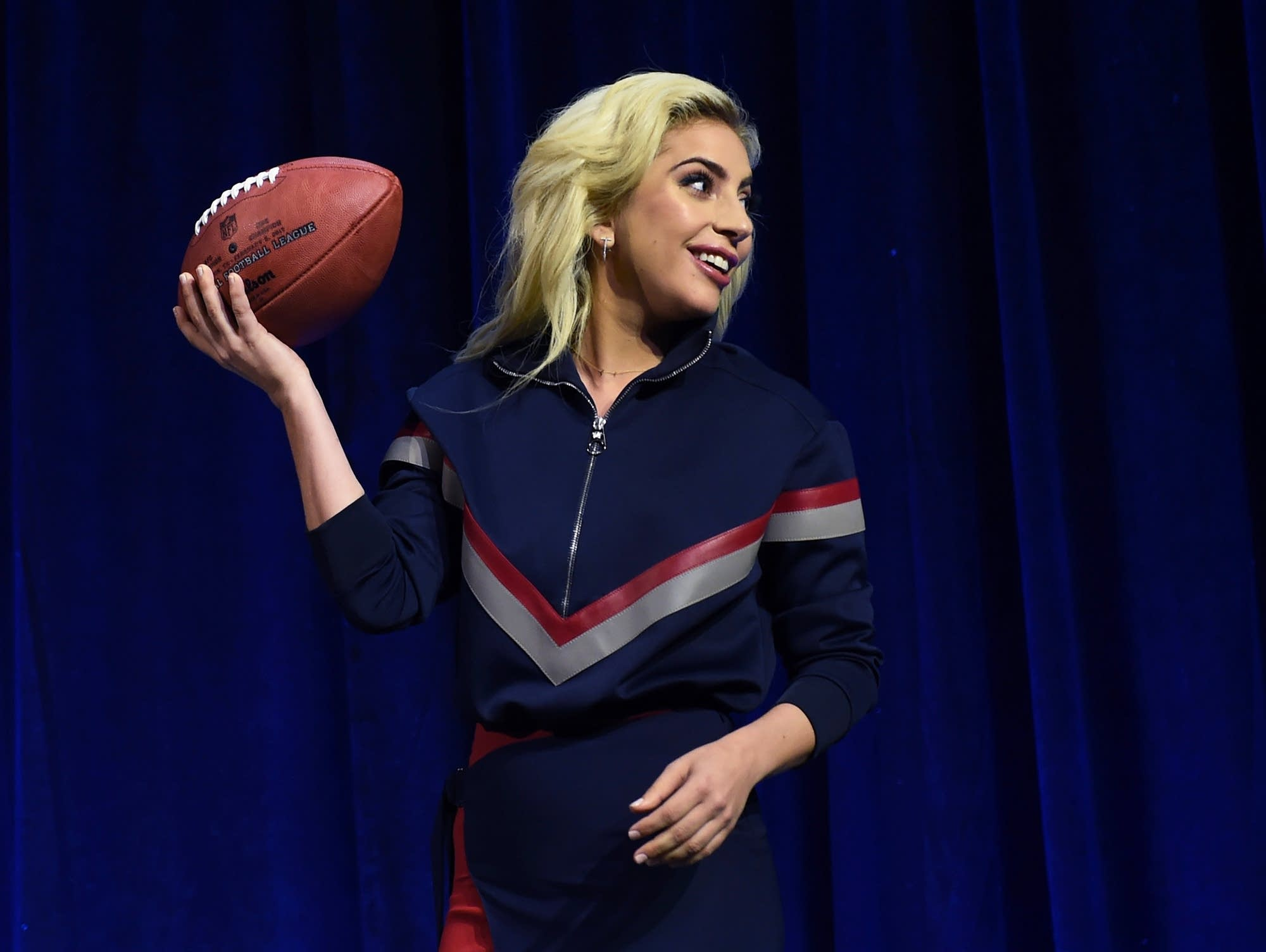 Lady Gaga at a pre-Super-Bowl press conference
