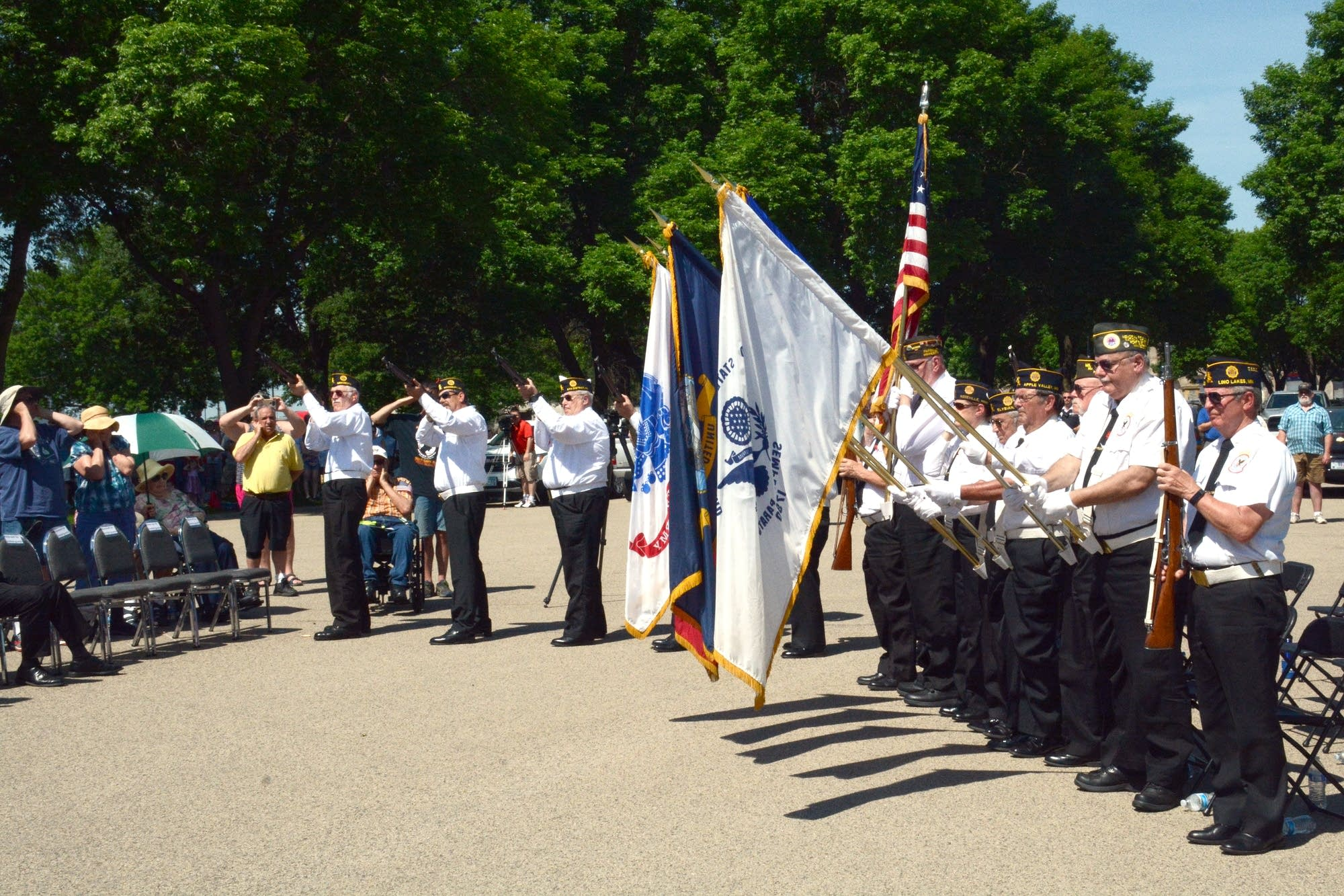 The Fort Snelling Memorial Rifle Squad fired a three-volley salute.