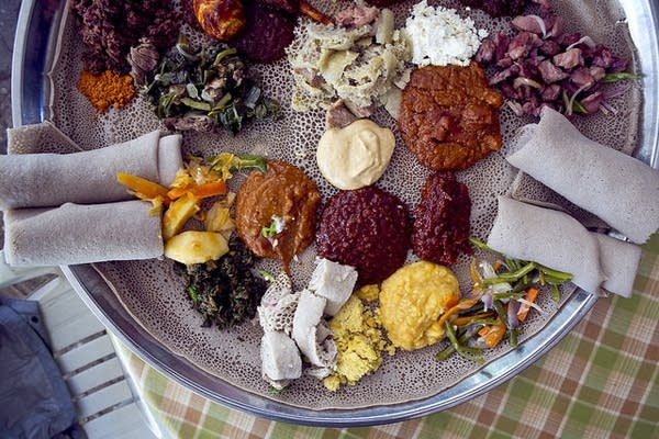 Lunch in Ethiopia served on Injera