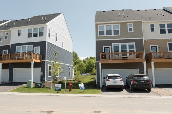 A block of finished homes in the Brooks Ridge housing community.