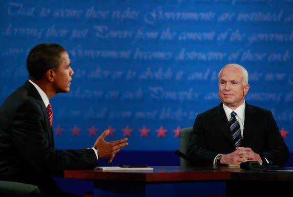 John McCain and Barack Obama at their final debate