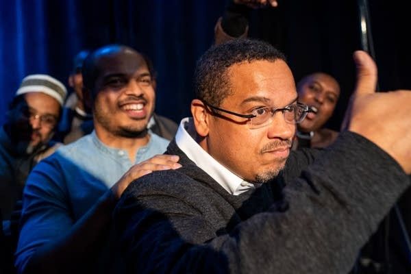 Keith Ellison celebrates winning.