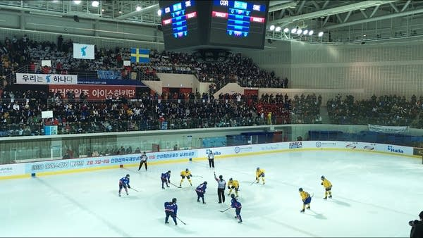 A large crowd watches two teams play hockey.