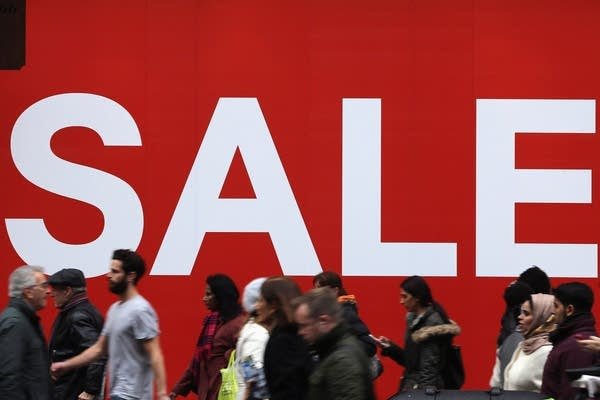 Consumers in a retail rush