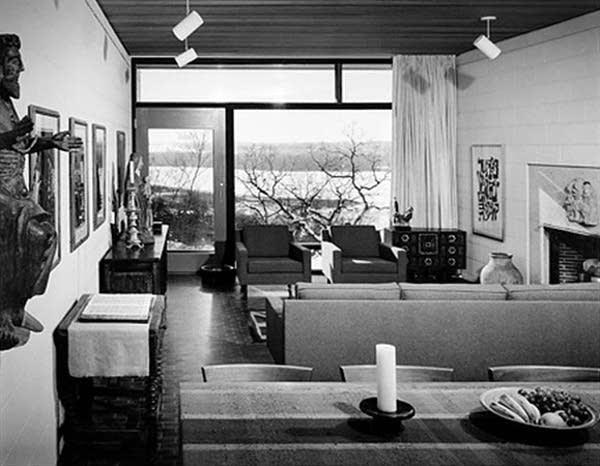 The living room of the original home