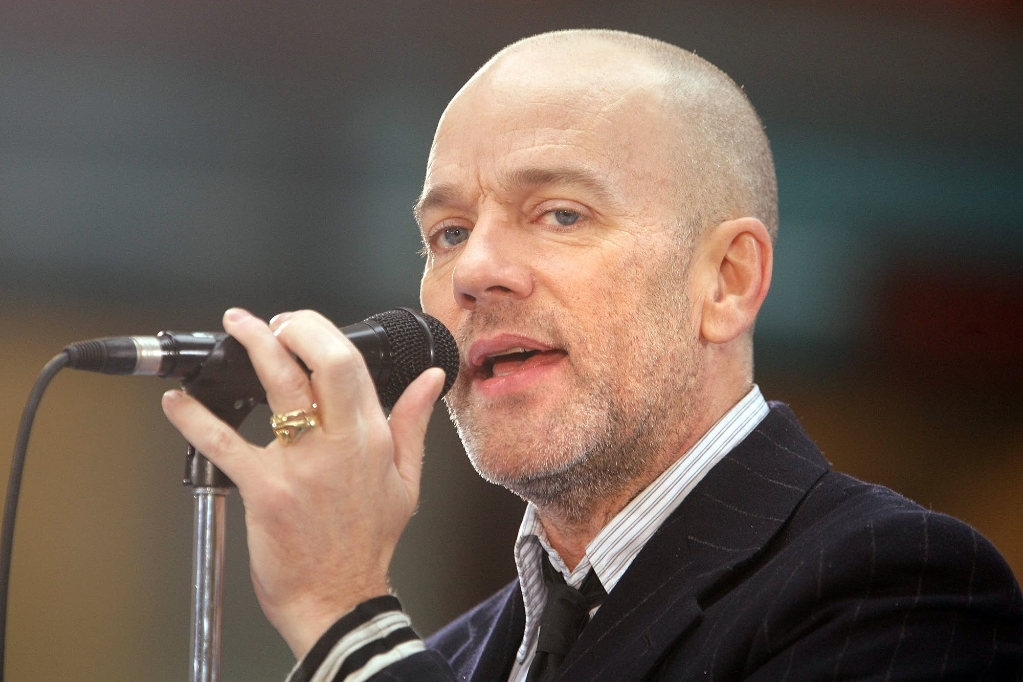 Singer Michael Stipe of R.E.M. performs on the NBC 'Today' show