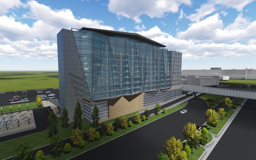 Artist rendering of future hotel at MSP