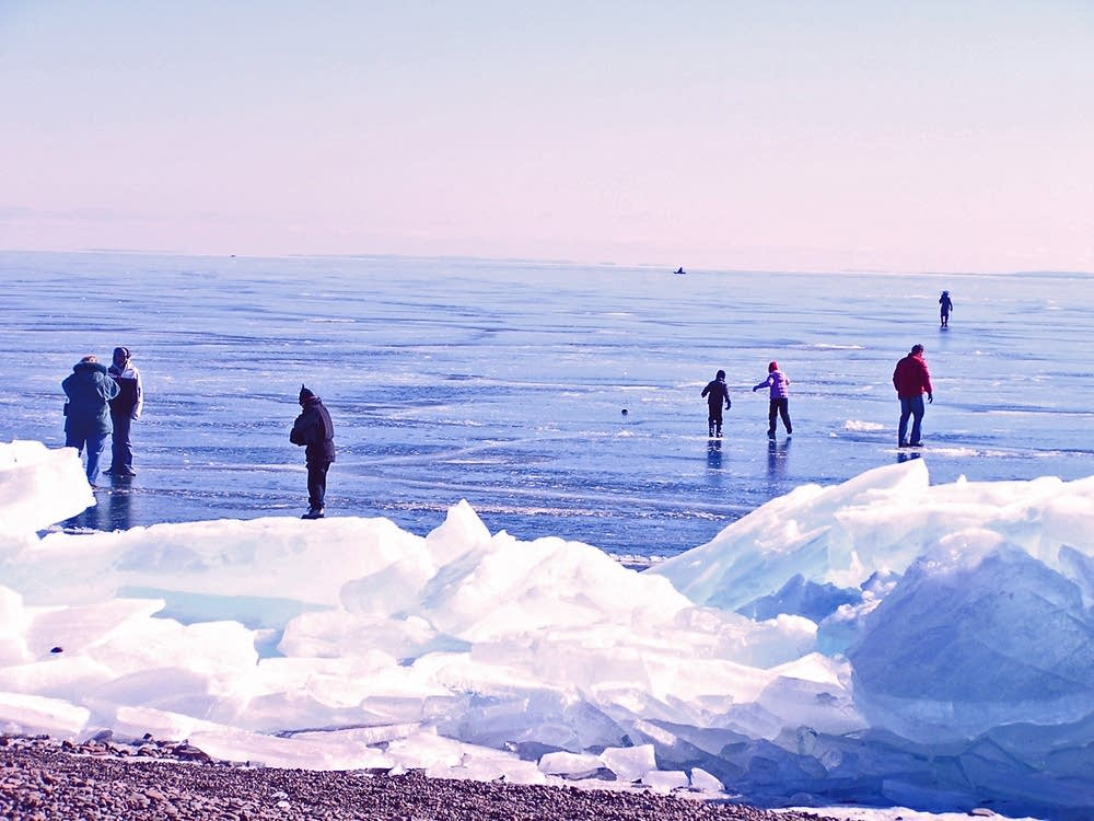 People checking out the ice