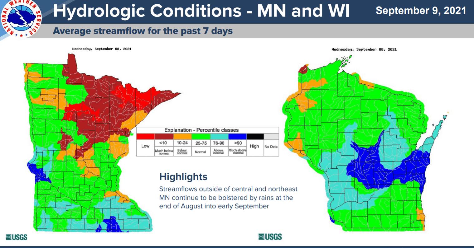 Streamflow across MInnesota and Wisconsin