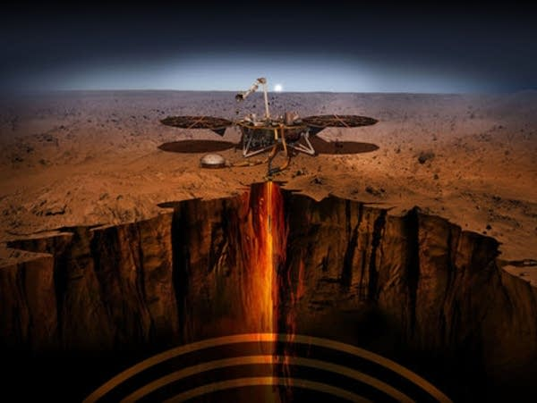 An artist's depiction of InSight