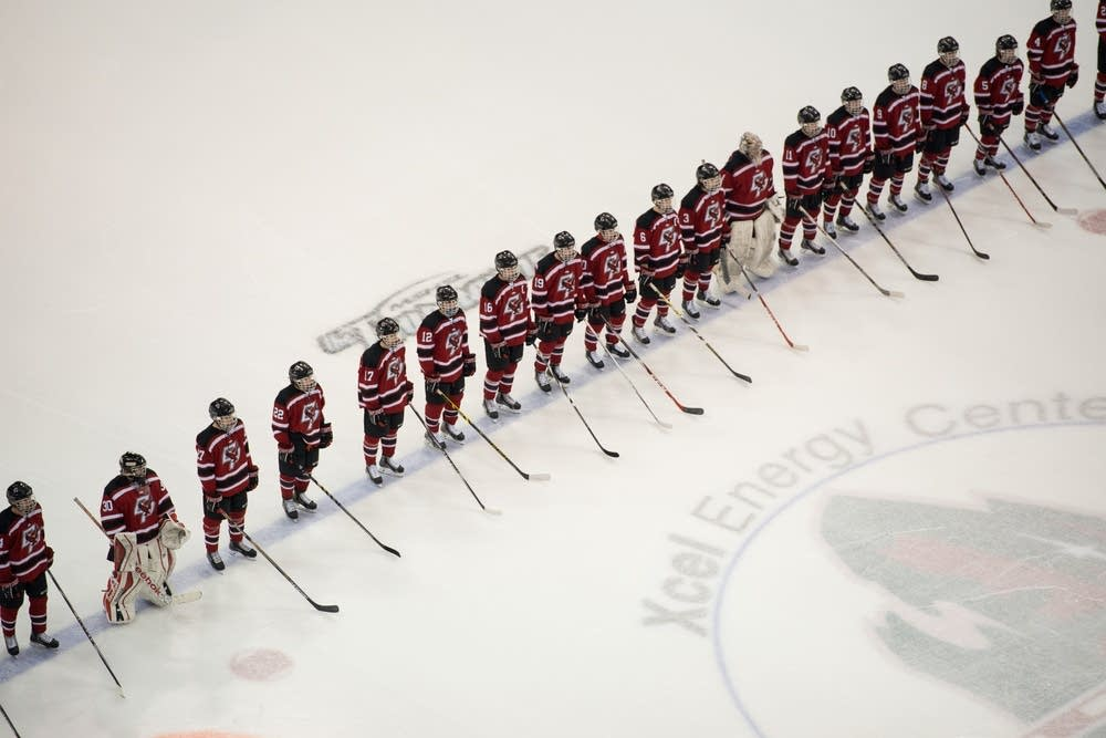 Eden Prairie players lined up for introductions.