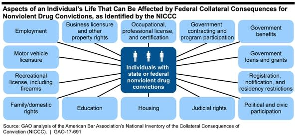 A graphic showing what can be affected by nonviolent drug convictions